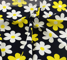 "2015 new 1 meter dark blue fashion daisy Printed cotton poplin fabric human clothing dress sewing quilting patchwork 57"" wide(China)"