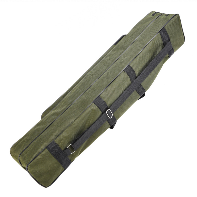 80cm Double Layer Canvas Fishing Bag Outdoor Collapsible Portable Fishing Rod Carrier Fishing Pole Tools Reel Gear Storage Case (6)