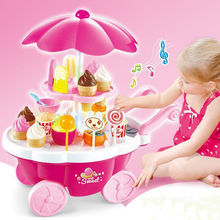New Kid Toys Pretend Play Mini Candy Cart Shop Funny Light Musical DIY Gift 39pc
