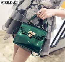 women clear jelly bag gold lock handbags tote clutch Korean beach cool crossbody ladies green bolsos de pvc small  shoulder bags