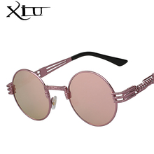 XIU 2017 New Sea Color Steampunk Sunglasses Men Round Metal Mens Sunglass Brand Designer Retro Glasses UV400