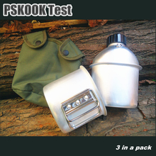 PSKOOK Outdoor Canteen Aluminum Military Water Bottle Army Hanging Bag Bottle Cup Camping Cooking Set Lunch Box 1set