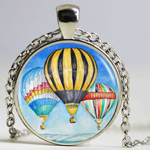 Buy Hot Sale Hot Air Balloon Logo Pendant Necklace Handmade Vintage Necklace Women Men Bronze Chain Long Necklace for $1.23 in AliExpress store