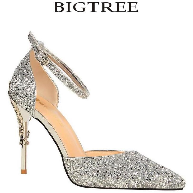 BIGTREE 2017 New Summer Shoes Woman Sequined Cloth Womens Pumps Party Crystal Shoes Silver Carved Metal Heel Wedding Shoes<br>