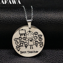 2017 Fashion Teacher Stainless Steel Necklace Women jewlery Silver Color Necklaces & Pendants Jewelry acero inoxidable ND21A(China)
