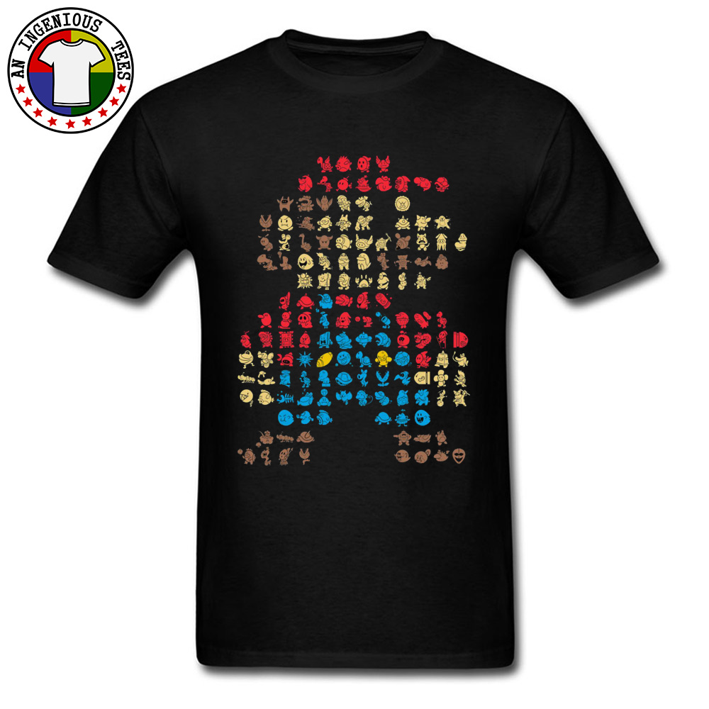 Men's T-Shirt Super-Mario0604 Classic Tops Shirts Cotton O Neck Short Sleeve Normal Tops Shirt Thanksgiving Day Super-Mario0604 black
