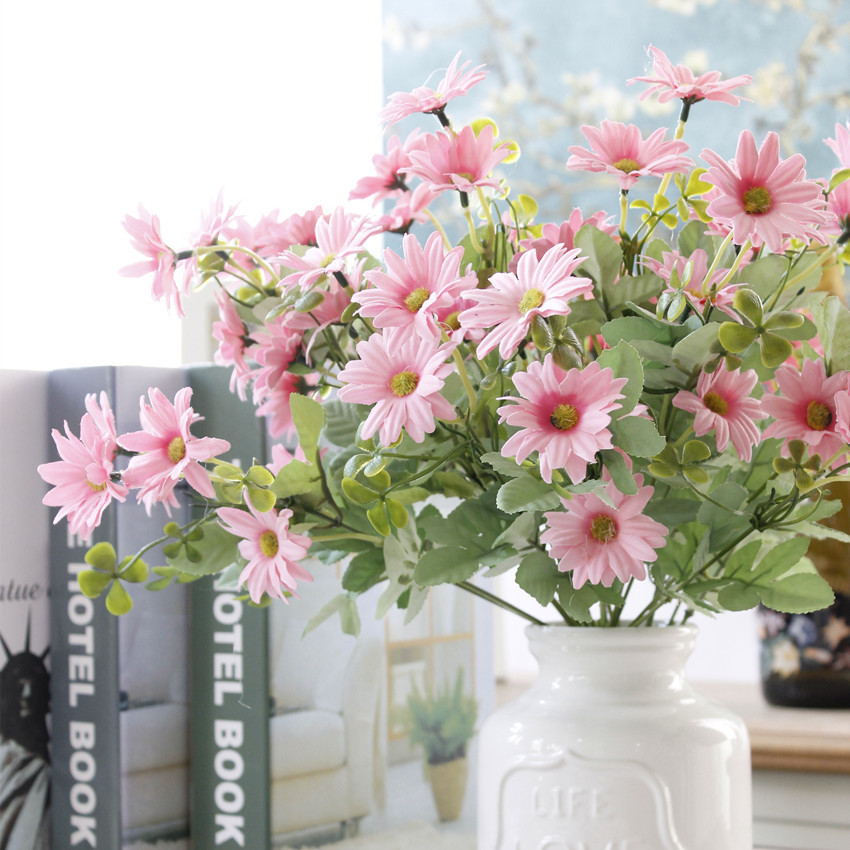 7 Branches Chrysanthemum Artificial Flowers Daisy bouquet Artificial Flower Silk Gerbera Flower Wedding Party Home Decoration(China (Mainland))