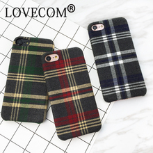 LOVECOM Winter Hot Fuzzy Classic Plaid Parttern For Iphone7 7 Plus 6 6S Plus Soft Anti Shock Mobile Phone Cases YC2087