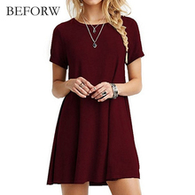 BEFORW Women Vintage Dress Black Green Summer Dresses Fashion Casual Womens Clothing Solid Simple Short Sleeves Dress Vestidos(China)
