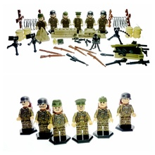 6 Pieces/set City Police Kharkov Counter Attack Army DIY Bricks with Weapons Military Soldiers Building Blocks Toys For Children