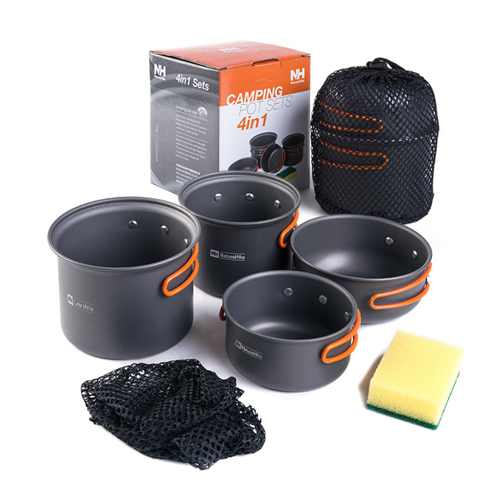 2-3 Persons Camping Pot Sets Outdoor Four Combination Cookware Portable Travel Tableware for Picnic Bowl Pot Pan Set<br>