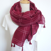 2017 New Women Autumn Winter Cotton Linen Scarf Warm Plaid Shawl Long Large Scarves Neck Collar With Tassels 200*110cm