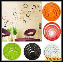 Trustwothy  1 Set Indoors Decoration Circles Creative Stereo Removable 3D DIY Wall Stickers  Sophia