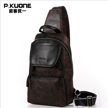 P.KUONE 2017 Best Seller New Fashion Genuine Leather Chest Pack Men Messenger Bag Luxury Handbag Famous Brands Travel Handbag