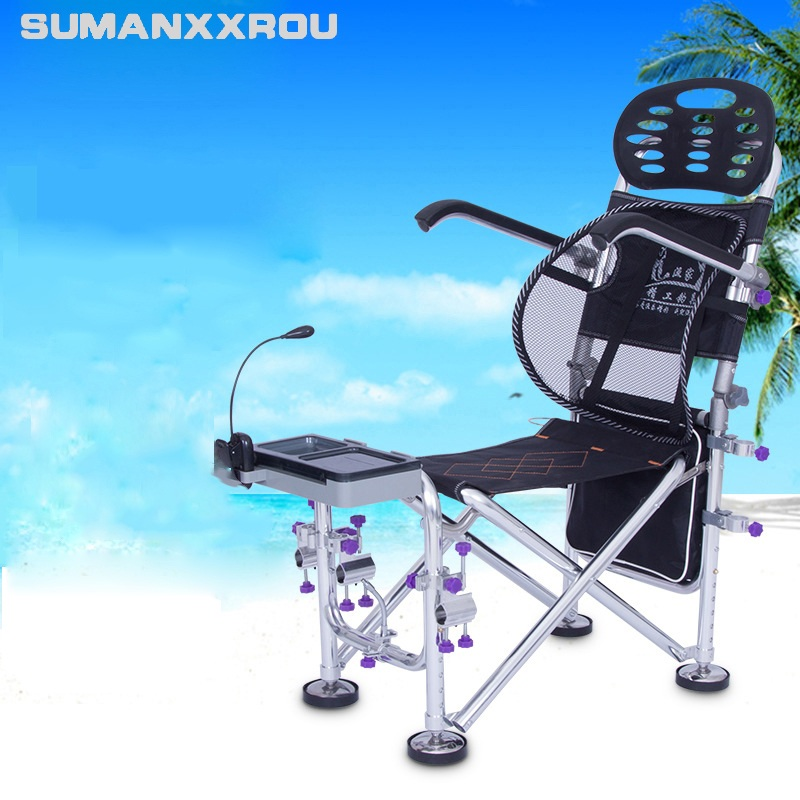 2018 New Multifunctional Camping Seat Portable High Quailty Folding Chair Aluminum for Fishing Chair Aluminum Alloy with Bag<br>