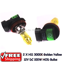 2 x H11 PGJ19-2 12V 3000K Golden Yellow 100W  Auto Car HOD Halogen Bulbs Lamps Fog Lights  Bulbs