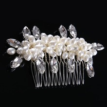 Newest Crystal Glass Hairwear for Women Crystal beads Female Fashion Elegant Hairpin alloy Jewelry Pearl Hair Stick CY161117-32