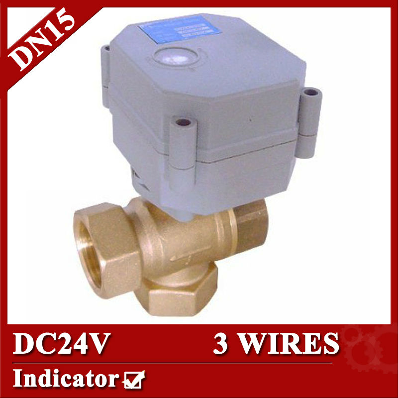 1/2  DC24V BRASS 3 way T port Motorized valve, electric ball valve 3 wires(CR301), DN25 electric valve for solar heating<br><br>Aliexpress