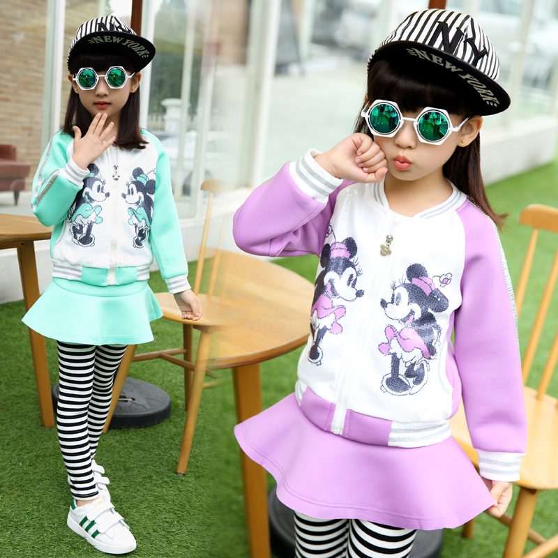 2017 Spring new childrens clothing  leisure sports suit  Girls printed character skirt two-piece   3-10 age girl suit  kids<br><br>Aliexpress