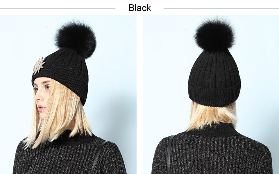 Ralferty Women's Real Fox Pompom Hat Knitted Rabbit Skullies Winter Hats For Women Big Flower Crystal Beanies Black Cap bonnet 2