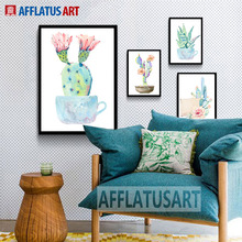 AFFLATUS Nordic Watercolor Colorful Cactus Wall Art Print Poster Canvas Painting Wall Pictures For Kids Room Decor No Frame(China)