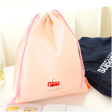 Cute Cartoon Drawstring Pouch Travel Bags Clothes Storage Luggage Bags Waterproof Clothing Bag Shoe Bag Pink