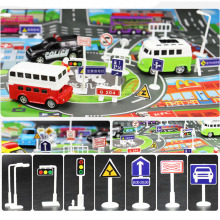 196 Pcs DIY Model Scene Car Toys Sign Road Sign Roadblock Traffic Sign IC Toy Accessories Gift for Kids(without car)