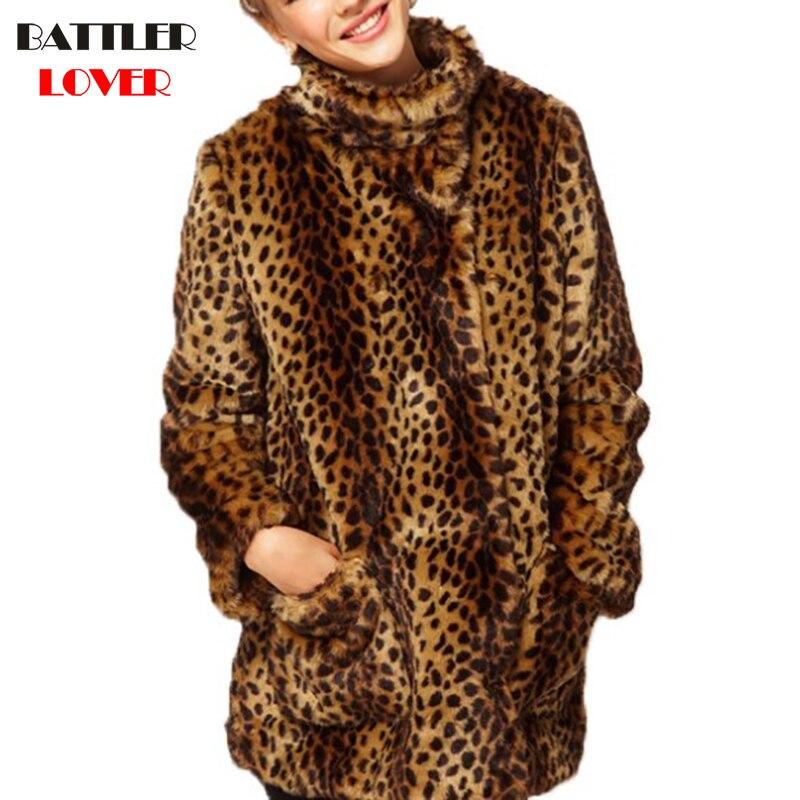 Leopard Fur Coat Winter Jacket Women Coats Jackets Raccoon Faux Fur Coats Womens Mujer Femme Damen Pelzmantel Fall Jackets 2018