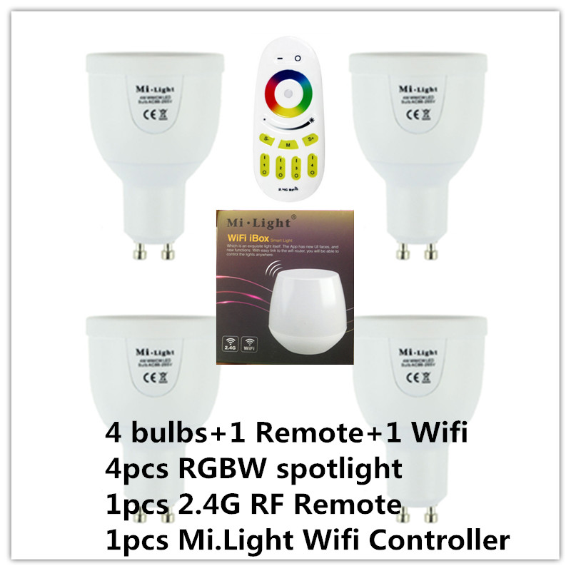 2.4G RGBW RGBWW GU10 AC85-265V Dimmable LED Spot Light Bulb Lamp / 2.4G Wireless Group Dimmer Remote / Mi Light Wifi Controller<br><br>Aliexpress