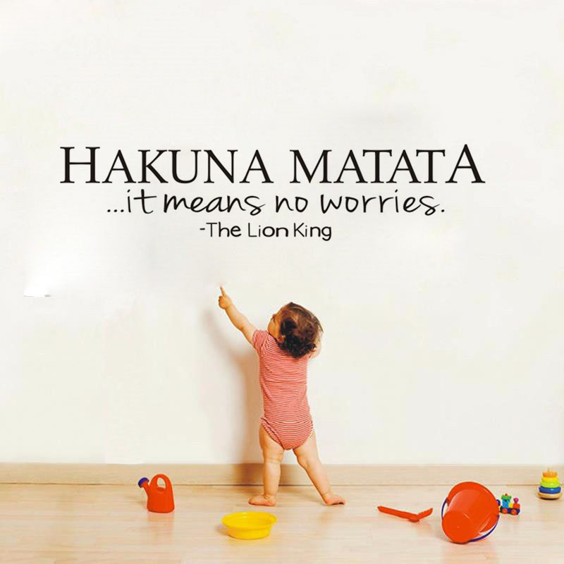 Hakuna Matata It Means No Worries Wall Stickers Encourage Vinyl Waterproof Removable Wallpaper Living Room Kids Bedroom Decor(China (Mainland))
