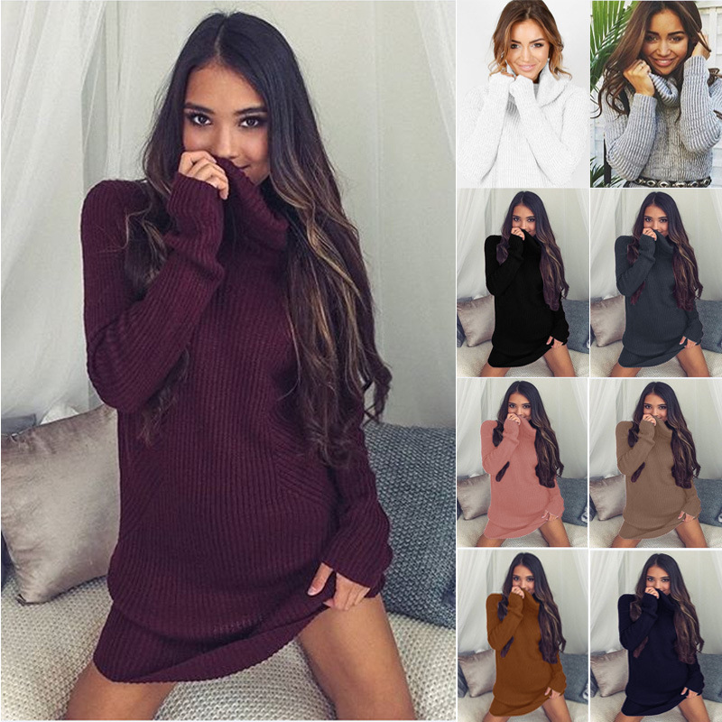 Turtleneck Long knitted pullover sweater, Women's Jumper, Casual Sweater 13