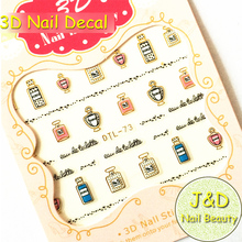 Free Shipping 5pcs 3D Golden Silvery Perfume Bottle Nail Art Sticker Black Lace Striping Decals French Romantic Manicure No.73