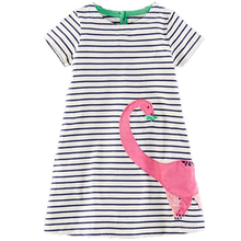 Baby Girl Dress with Animals Applique 2017 Summer Princess Dress Kids Clothes 100% Cotton Children Christmas Dresses for Girls(China)
