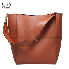 BRIGGS High Quality Split Leather Women Bucket Tote Bags Vintage Woman Handbags Soft Women's Shoulder Bags bolsas femininas(China)