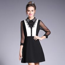 Ouyalin L-5XL Collared Front Button Spring Dress Beading Star Fashion Black And White Contrast Women Plus Size Office Dresses