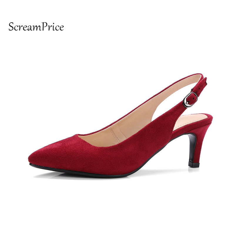 Faux Suede Open Woman Lazy Pumps Fashion Buckle Bank Strap Dress High Heel Shoes Thin Heel Pointed Toe Shoes Black<br>