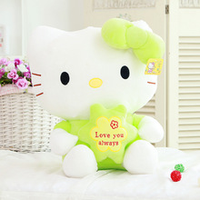 Free Shipping One Piece Cute Hello Kitty Plush Toy PP Cotton Stuffed KT Cat With Clothes Dolls Kid Toys Birthday Gifts 4 Colors(China)