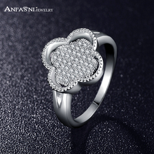 ANFASNI Newest Style Rings Silver Color Pave Setting Cubic Zirconia Flower Rings For Women CRI0130-B
