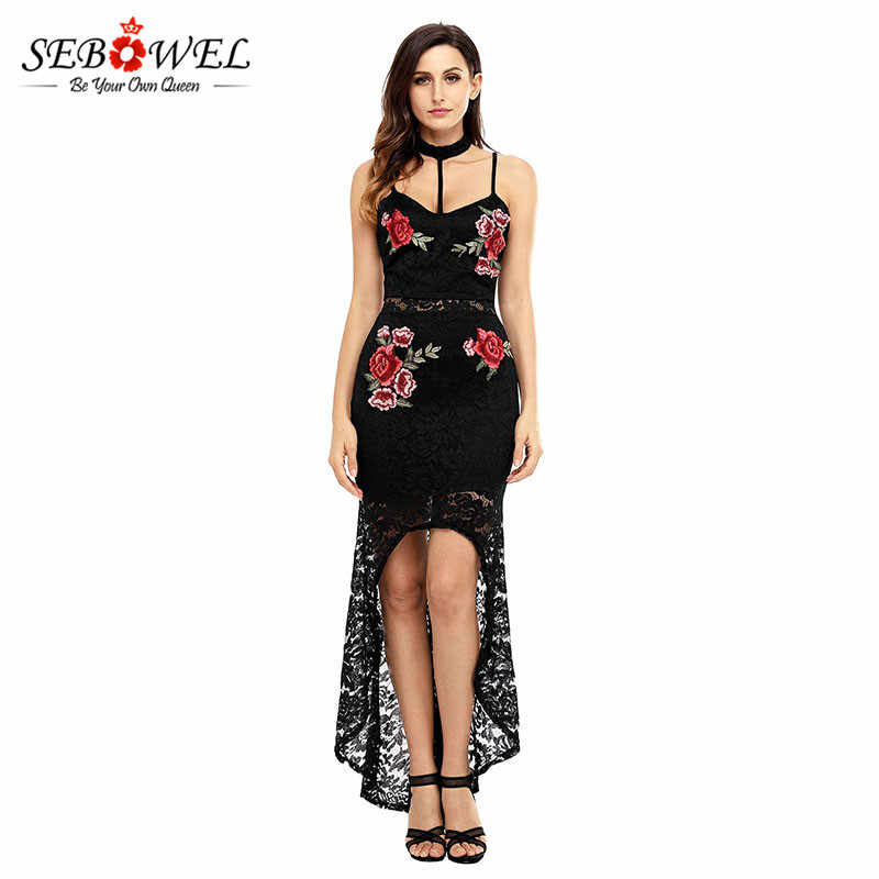 SEBOWEL Women 2017 Vestido Embroide Dresses Summer Night Party Floral Lace  Sexy Hollow Out Sheath Dress 2ffa3c40692a