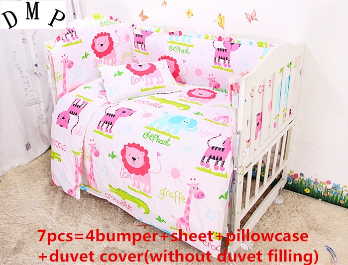 Discount! 6/7pcs baby cradle bedding set reactive printing quilt cover sheet and bumpers ,120*60/120*70cm<br>