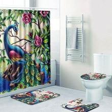 4Pcs Bath Mat Peacock Pattern Bathroom Shower Curtain + Pedestal Toilet  Seat Mat+Lid+
