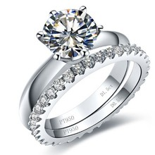 THREEMAN Brand 3.55CT Set Diamond Engagement Solid Gold Rings Set For Women 18K Jewelry AU750 Geniune Gold Brand Gold Bridal Set