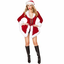 2017 Women Christmas Clothing Sexy Miss Santa Dress Christmas Costumes For Adults Roly Game Playing Bodycon Dress And Hat Set(China)