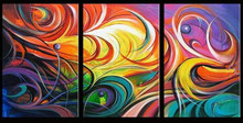 3 Panel Wall Art Hand Painted Canvas Oil Painting Modern Abstract Colorful Paintings Home Decor Wall Art Graffiti Wall Pictures