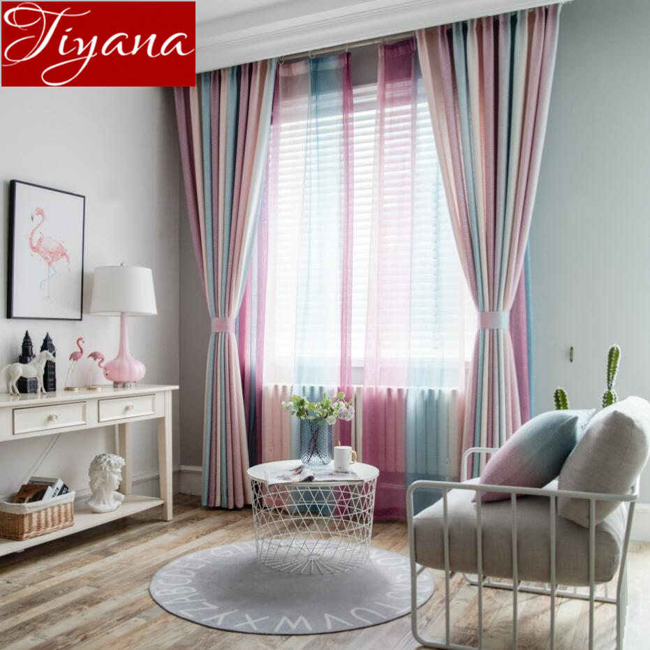 Rainbow Stripes Curtain Purple for Living Room Sheer Fabrics for Window Bedroom Linen Tulle Curtain Kitchen T&109#30