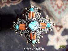 R178 Nepal Tibetan White Metal Copper Antiqued inlaid Red Coral Sunflower big Ring,superwide BOHO flower finger Rings
