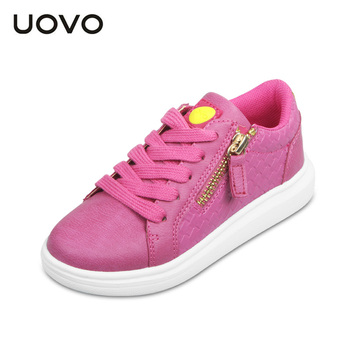 UOVO 2017 Kids Shoes Flat Girls Casual Shoes Light Sole Children Sneakers Lace up Girls shoes Glitter footwears
