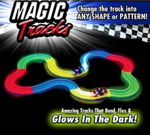 2017 New Magic Tracks Bend Flex Glow in the Dark Assembly Toy 165/220pcs Race Track  Set+ 1pc LED Car With Color Box For Kids