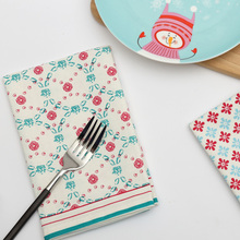 Pastoral Minimalist Style Cotton Tea Towel Napkins Kitchen Placemats Tablecloths Table Diner Napkins Scandinavian Printing