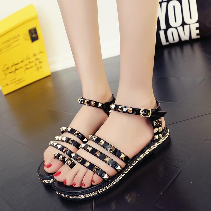 Hot2017 women shoes fashion Gladiator shoes Rivets women sandals Platform shoes women beach summer shoes black sandalias mujer<br><br>Aliexpress